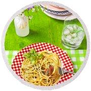 Spaghetti Al Pesto Round Beach Towel