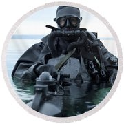 Special Operations Forces Combat Diver Round Beach Towel
