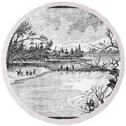 Spirit Lake Massacre, 1857 Round Beach Towel