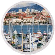Split Cityscape Round Beach Towel