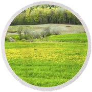 Spring Farm Landscape With Dandelion Bloom In Maine Round Beach Towel by Keith Webber Jr