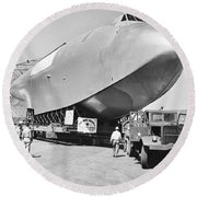 Spruce Goose Hull On The Move Round Beach Towel