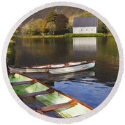 St. Finbarres Oratory And Rowing Boats Round Beach Towel