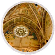 St Francis Basilica   Assisi Italy Round Beach Towel