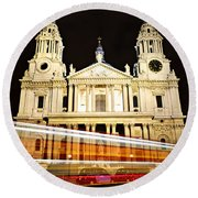 St. Paul's Cathedral In London At Night Round Beach Towel