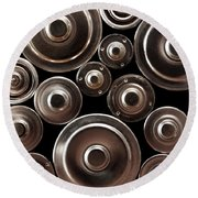 Stack Of Batteries Round Beach Towel by Carlos Caetano