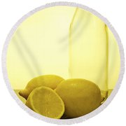 Still Life Of Bottles  And Lemons Round Beach Towel