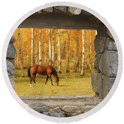 Stone Window View And Beautiful Horse Round Beach Towel