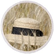 Straw Hat Round Beach Towel