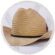 Straw Weave Cowboy Hat Round Beach Towel