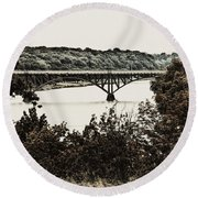 Strawberry Mansion Bridge From Laurel Hill Round Beach Towel