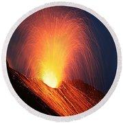 Strombolian Eruption Of Stromboli Round Beach Towel