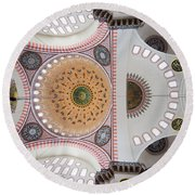 Suleymaniye Mosque Ceiling Round Beach Towel