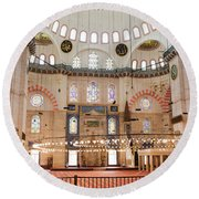 Suleymaniye Mosque Interior Round Beach Towel