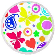 Summer Fun Round Beach Towel by Louisa Knight