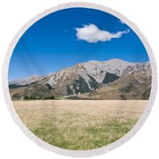Summer Landscape Blue Sky  Round Beach Towel
