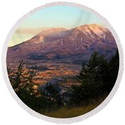 Sun Going Down At Mt. St. Helens Round Beach Towel