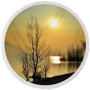 Sunlight Over A Lake Round Beach Towel