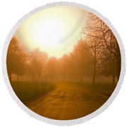 Sunrise Over Country Road, Oregon Round Beach Towel