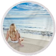 Sunrise Woman Round Beach Towel