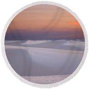 Sunset At White Sands Round Beach Towel