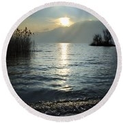 Sunset Over An Alpine Lake Round Beach Towel