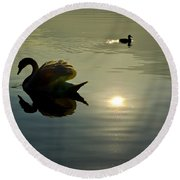 Swan And Ducks Round Beach Towel