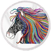 Tattooed Horse Round Beach Towel
