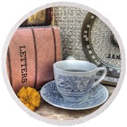 Tea Time Round Beach Towel by Jane Linders
