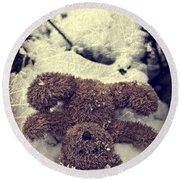 Teddy In Snow Round Beach Towel by Joana Kruse