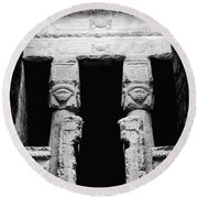 Temple Of Hathor Round Beach Towel by Photo Researchers, Inc.
