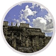 Temple Of The Warriors Round Beach Towel