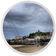 Tenby Harbour From North Beach 2 Round Beach Towel