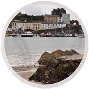 Tenby Harbour From North Beach Round Beach Towel