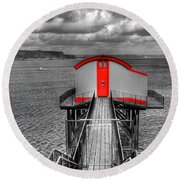 Tenby Lifeboat House Colour Pop Round Beach Towel