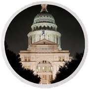 Texas Capitol Building At Night - Vert Round Beach Towel