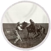 Texas: Cowboys, C1908 Round Beach Towel