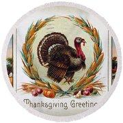 Thanksgiving Card, 1910 Round Beach Towel