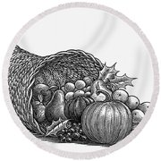 Thanksgiving: Cornucopia Round Beach Towel