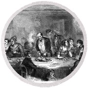 Thanksgiving Dinner, 1850 Round Beach Towel