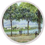 The Avenue Of Chestnut Trees Round Beach Towel by Alfred Sisley