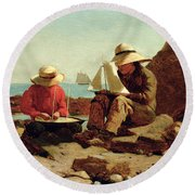 The Boat Builders Round Beach Towel