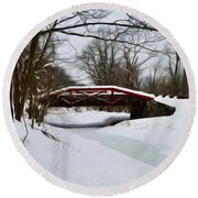 The Delaware Canal At Washington's Crossing Round Beach Towel by Bill Cannon