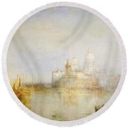 The Dogana And Santa Maria Della Salute Venice Round Beach Towel