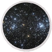 The Double Cluster, Ngc 884 And Ngc 869 Round Beach Towel