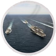 The Enterprise Carrier Strike Group Round Beach Towel by Stocktrek Images