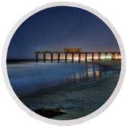 The Fishing Pier Round Beach Towel by Paul Ward