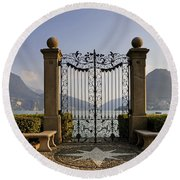 The Gateway To Lago Di Lugano Round Beach Towel