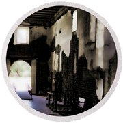 The Ghostly Nave Round Beach Towel