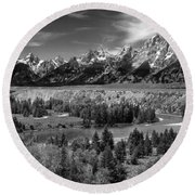 The Grand Tetons And The Snake River Round Beach Towel